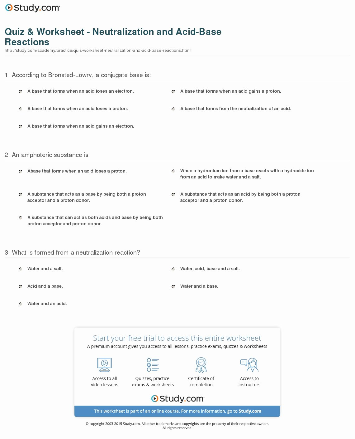 Acid and Base Worksheet Answers New Quiz & Worksheet Neutralization and Acid Base Reactions