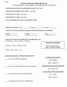 Acid and Bases Worksheet Answers Awesome Polyatomic Ions Answer Key Pogil