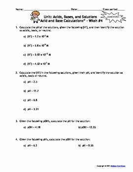 Acid and Bases Worksheet Answers Luxury Acids Bases and solutions Homework Worksheets Set Of 7