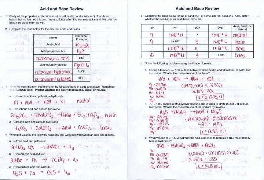 Acid and Bases Worksheet Answers Unique Acids and Bases Worksheet Answers