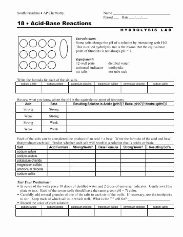 Acid Base Reaction Worksheet Awesome Acid Base Reactions Worksheet Worksheets Tutsstar