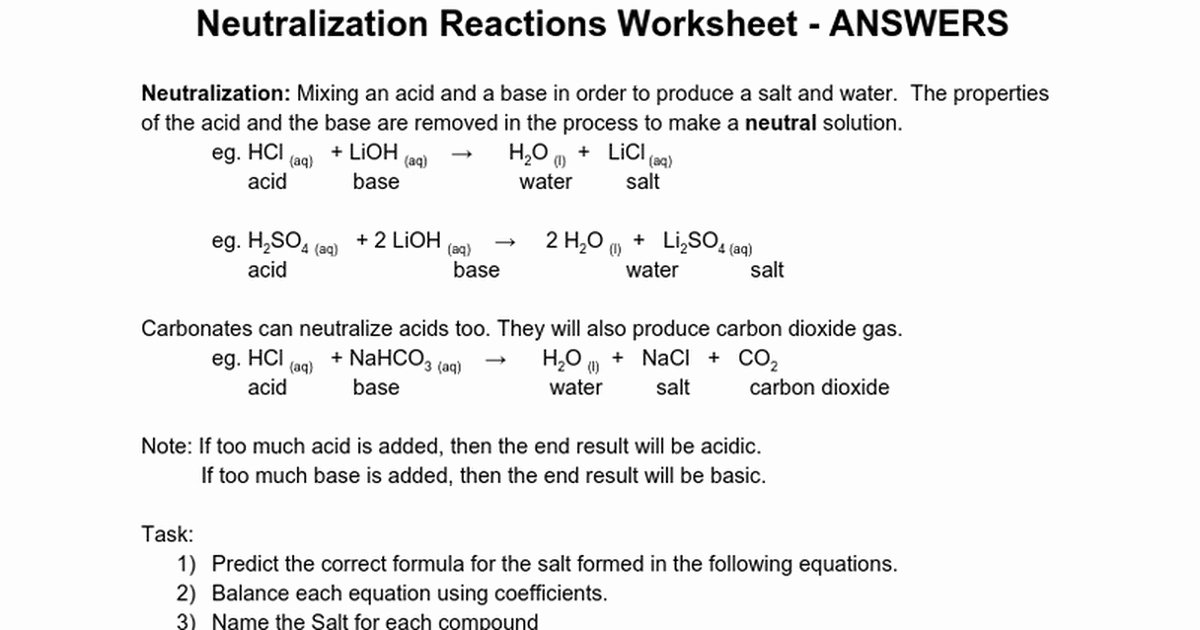 Acid Base Reaction Worksheet Best Of Neutralization Reaction Worksheet
