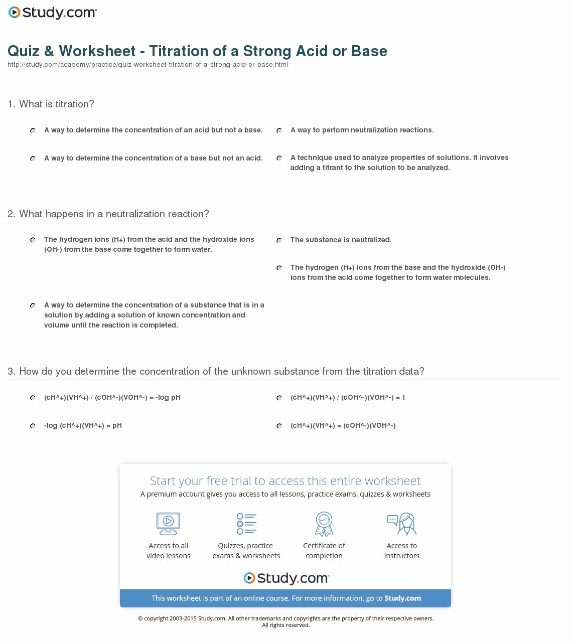 Acid Base Reaction Worksheet Elegant Quiz & Worksheet Titration Of A Strong Acid or Base