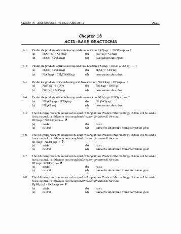 Acid Base Reaction Worksheet Fresh Neutralization Reaction Worksheet