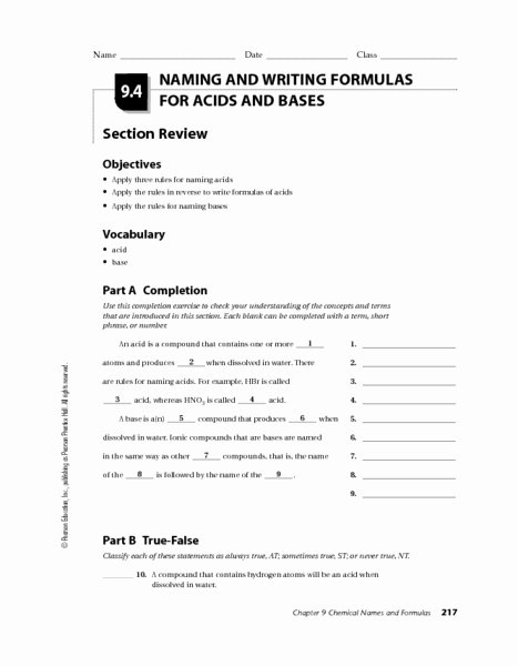 Acid Base Reaction Worksheet Inspirational Naming and Writing formulas for Acids and Bases Worksheet