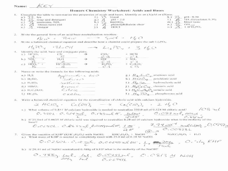 Acid Base Reaction Worksheet Lovely Acids and Bases Worksheet