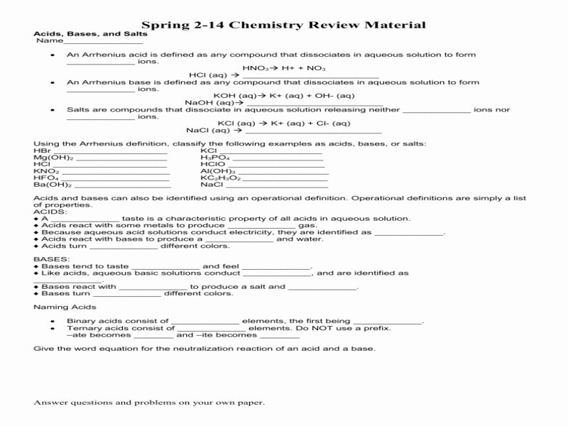 Acids and Bases Worksheet Answers Unique Acids Bases and Salts Worksheet Answers Free Printable