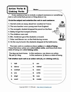 Action and Linking Verbs Worksheet Fresh 1000 Images About Linking Verbs On Pinterest