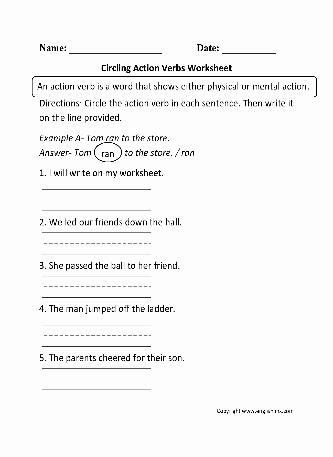 Action and Linking Verbs Worksheet Fresh Circling Action Verbs Worksheet