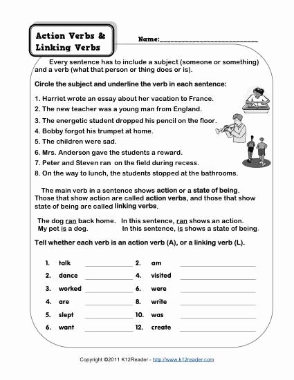 Action and Linking Verbs Worksheet Inspirational Action Verb and Linking Verb Worksheets