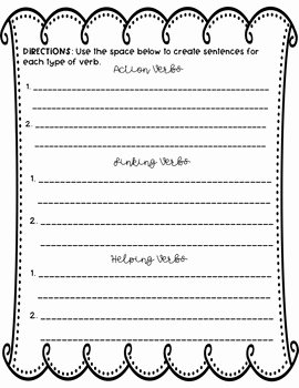 Action and Linking Verbs Worksheet Luxury Editable Action Linking and Helping Verbs Worksheet by