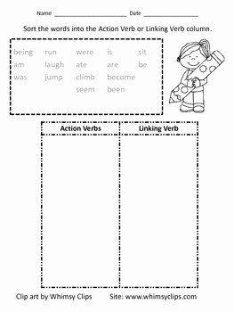 Action and Linking Verbs Worksheet Unique Action Verb and Linking Verb sort Worksheet by Crooms