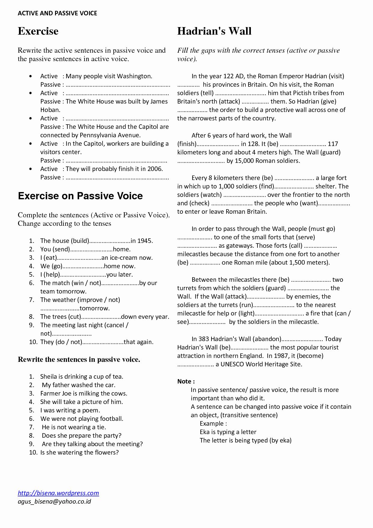 Active and Passive Transport Worksheet Elegant 11 Best Of Active Passive Voice Worksheet Active