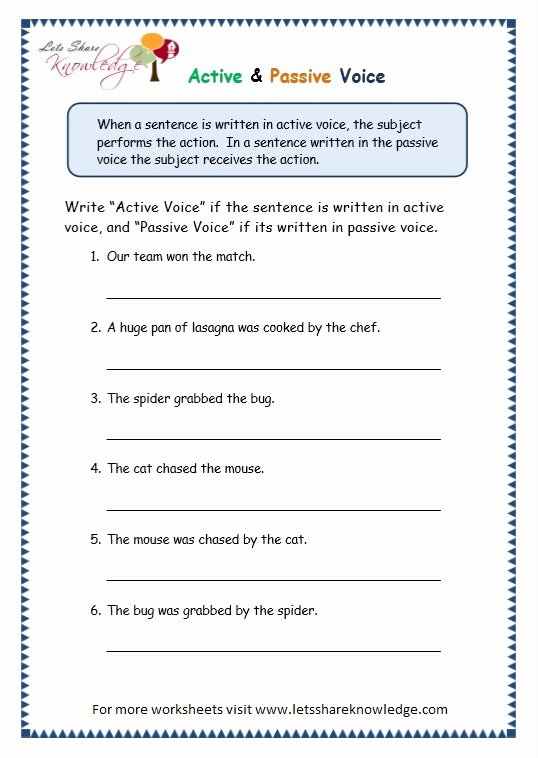 Active Passive Voice Worksheet Awesome Grade 3 Grammar topic 3 Active Passive Voice Worksheets