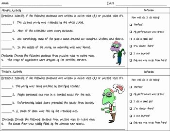Active Passive Voice Worksheet Beautiful Active and Passive Voice Zombie Freebie Worksheet by