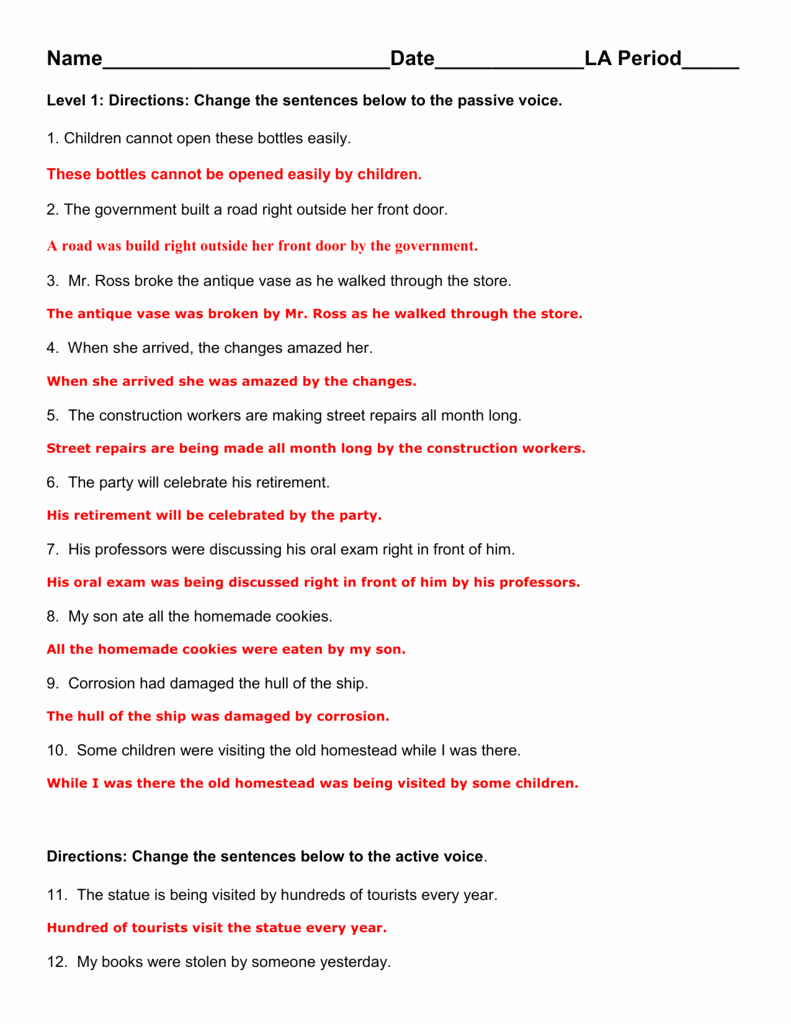 Active Passive Voice Worksheet Beautiful Answer Key to the Active Passive Worksheet We Pleted