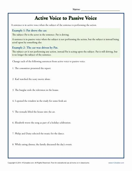 Active Passive Voice Worksheet Best Of Active Voice to Passive Voice