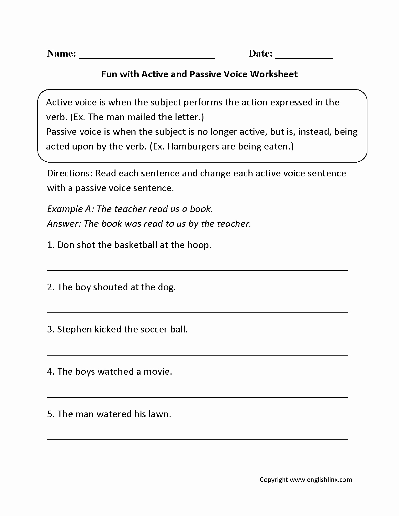 Active Passive Voice Worksheet Best Of Englishlinx