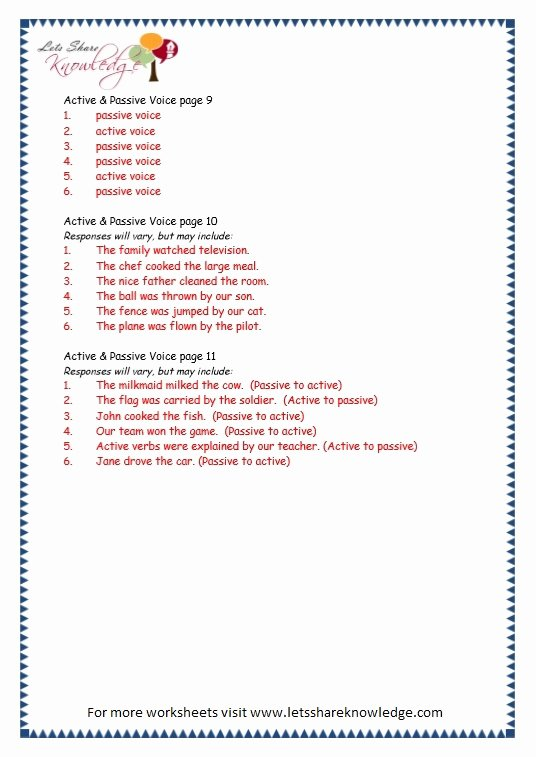 Active Passive Voice Worksheet Best Of Grade 3 Grammar topic 3 Active Passive Voice Worksheets