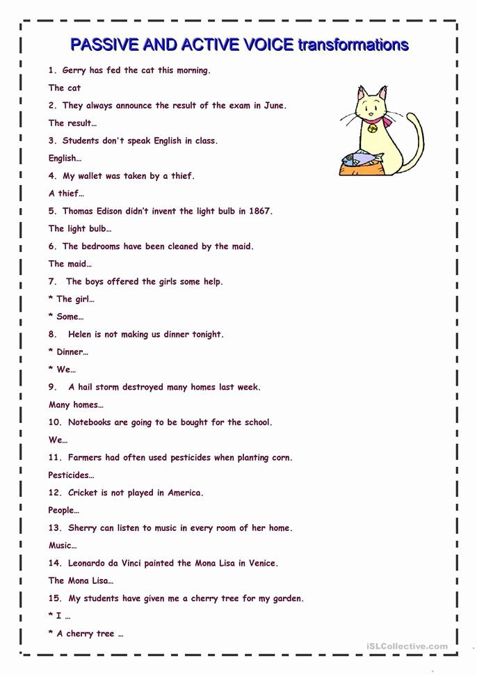 Active Passive Voice Worksheet Best Of Passive and Active Sentence Transformation Worksheet