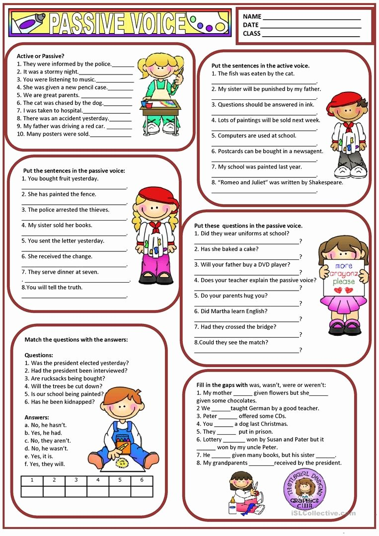 Active Passive Voice Worksheet Elegant Passive Voice Worksheet Free Esl Printable Worksheets