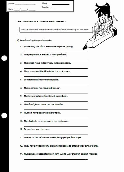 Active Passive Voice Worksheet Fresh the Passive Voice with Present Perfect Worksheet