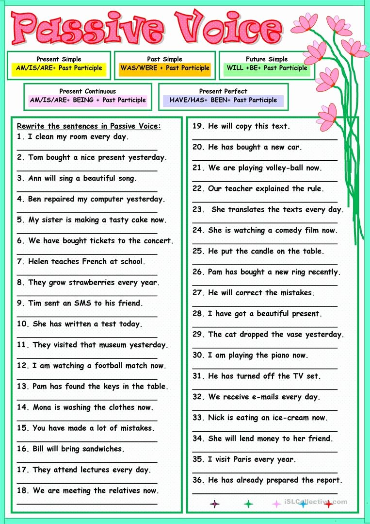 Active Passive Voice Worksheet Luxury Passive Voice Worksheet Free Esl Printable Worksheets