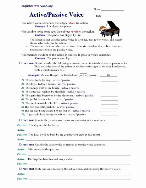 Active Passive Voice Worksheet Unique Active Voice Lesson Plans & Worksheets