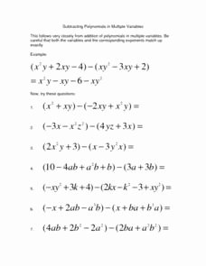 Adding and Subtracting Polynomials Worksheet Best Of Subtracting Polynomials In Multiple Variables Lesson Plan