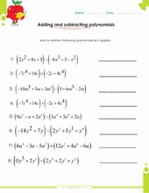 Adding and Subtracting Polynomials Worksheet Elegant Factoring Polynomials Worksheets with Answers and Operations