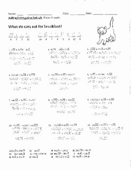 Adding and Subtracting Radicals Worksheet Beautiful Adding and Subtracting Radicals Joke Worksheet with Answer