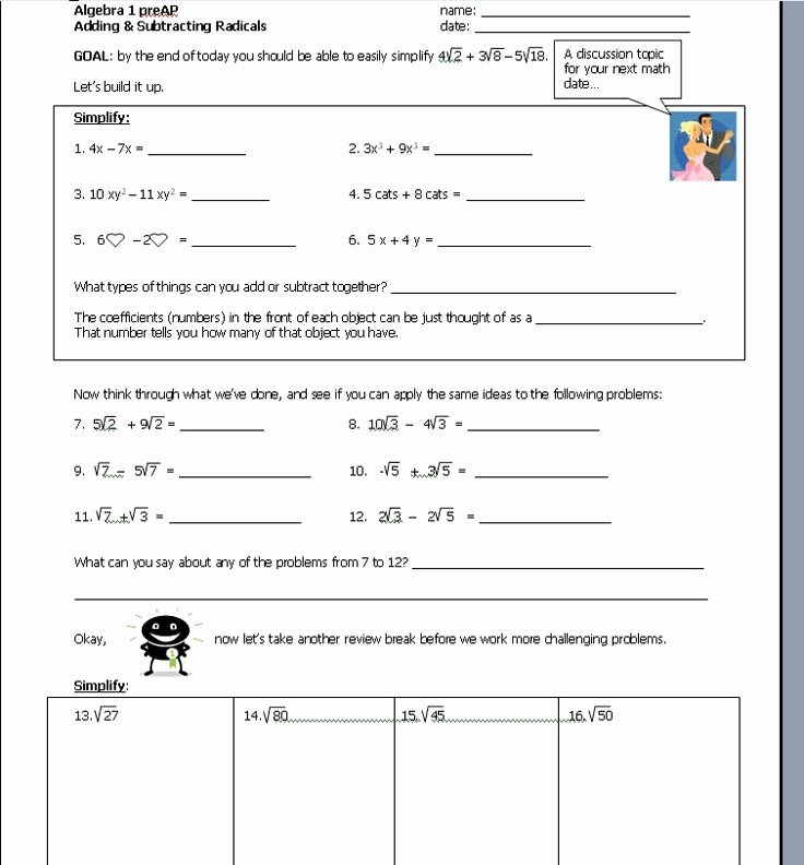 Adding and Subtracting Radicals Worksheet Fresh Adding and Subtracting Radicals Notebooks