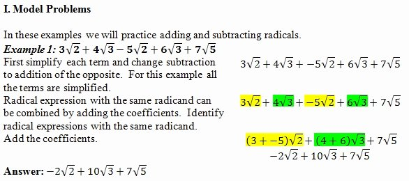 Adding and Subtracting Radicals Worksheet Fresh Adding Radicals Worksheet Pdf and Answer Key 25