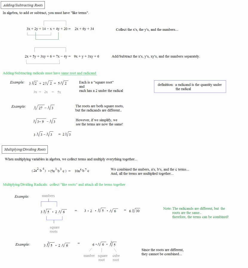 Adding and Subtracting Radicals Worksheet Lovely Adding and Subtracting Radicals Worksheet