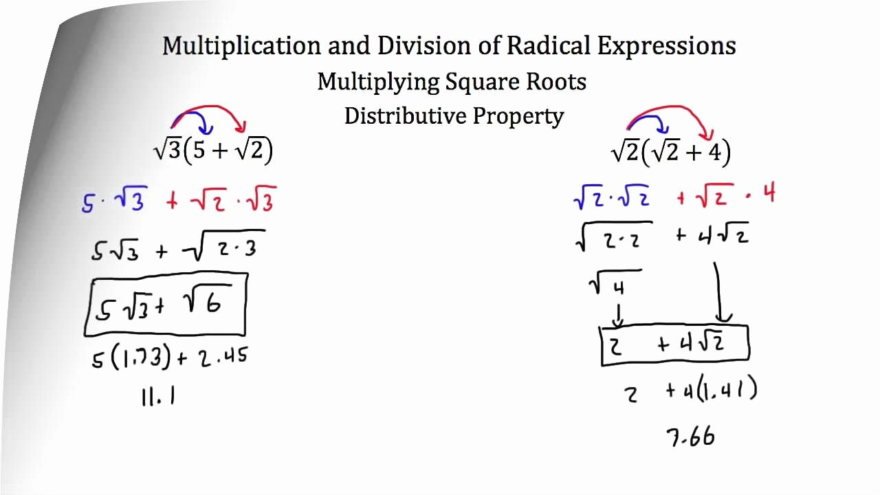 Adding and Subtracting Radicals Worksheet Luxury Adding Subtracting Multiplying and Dividing Radicals