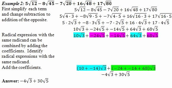 Adding and Subtracting Radicals Worksheet Unique Adding Radicals Worksheet Pdf and Answer Key 25