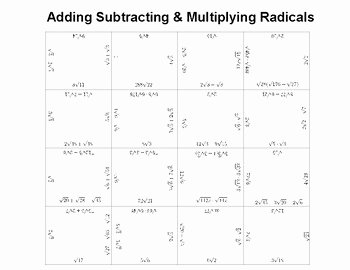 Adding and Subtracting Radicals Worksheet Unique Adding Subtracting and Multiplying Radicals by Graff S