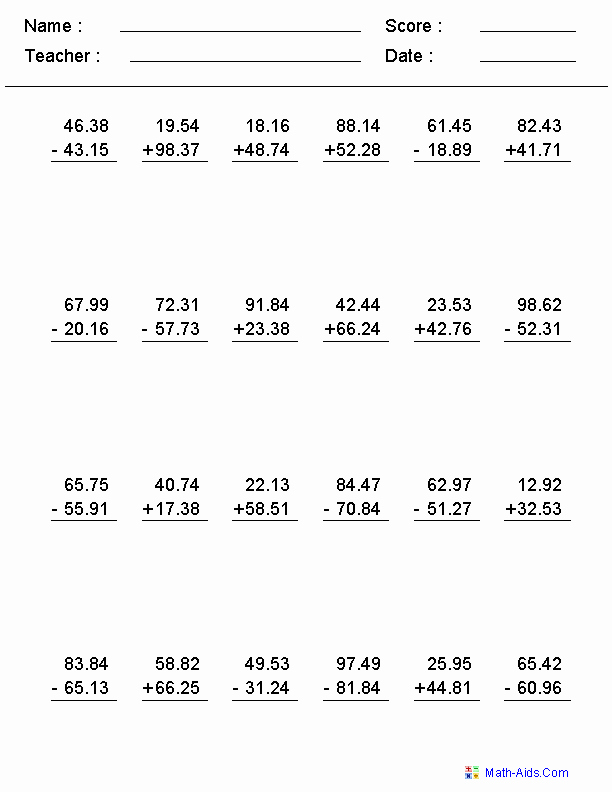 Adding Decimals Worksheet Pdf Awesome Adding and Subtracting with Decimals Worksheets This