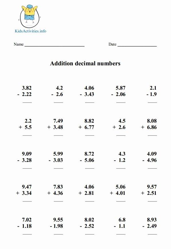 Adding Decimals Worksheet Pdf Best Of Adding and Subtracting Decimals Worksheet Pdf the Best
