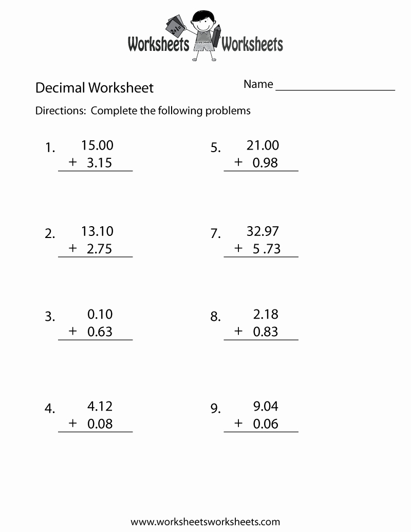 Adding Decimals Worksheet Pdf Inspirational Decimal Addition Worksheet Free Printable Educational