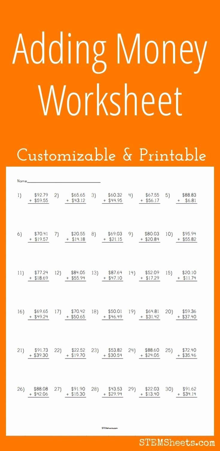 Adding Decimals Worksheet Pdf Luxury Adding Money Worksheet Customizable and Printable