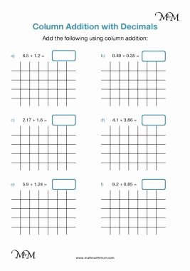 Adding Decimals Worksheet Pdf New Column Addition Adding Decimals Maths with Mum