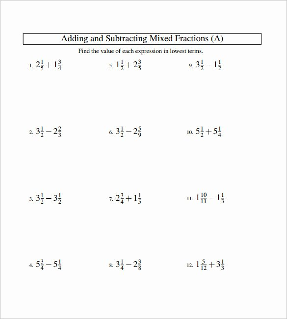 Adding Fractions Worksheet Pdf Best Of 15 Adding and Subtracting Fractions Worksheets – Free Pdf