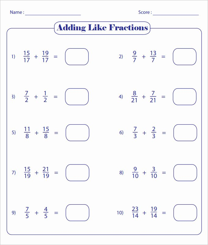Adding Fractions Worksheet Pdf Unique 23 Sample Adding Fractions Worksheet Templates