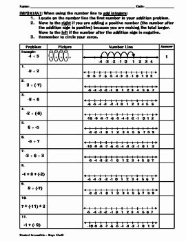 Adding Integers Worksheet Pdf Awesome Adding Integers On Number Line Worksheet by Maya Khalil