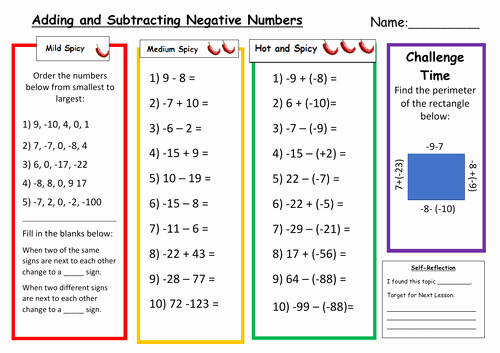 Adding Integers Worksheet Pdf Beautiful Adding and Subtracting Negative Numbers Differentiated