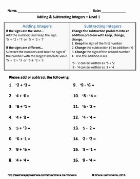 Adding Integers Worksheet Pdf Fresh Adding and Subtracting Integers Differentiated Worksheets