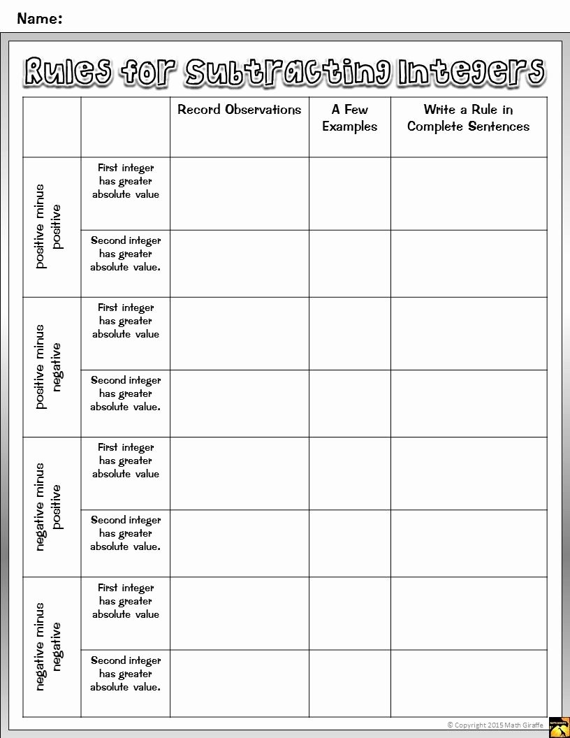 Adding Integers Worksheet Pdf Inspirational Free Pdf Teaching Integer Addition and