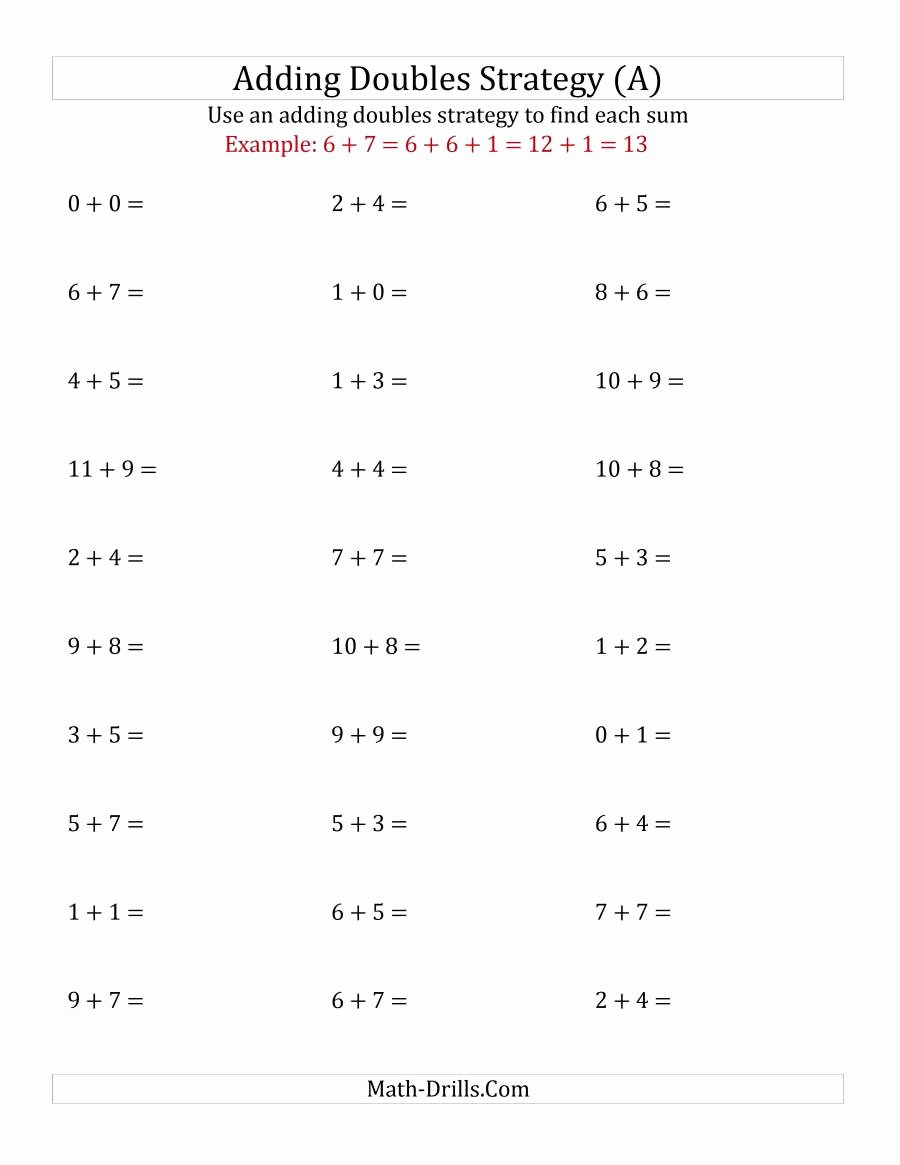 Adding Mixed Numbers Worksheet Awesome Adding Doubles Mixed Variations Small Numbers A