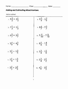 Adding Mixed Numbers Worksheet Elegant Adding and Subtracting Intergers Rules